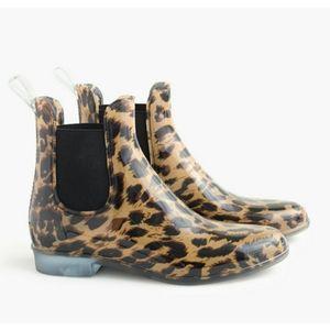 J. Crew Leopard Animal Print Chelsea Rain Boots